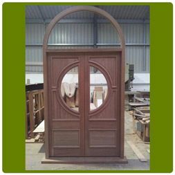 Empress Door set and frame (shown unglazed) in Hardwood.