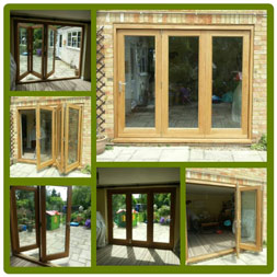 Bi-folding door set in Solid European Oak.