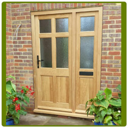 Front door and sidelight in Solid Oak