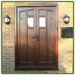 Pair of Tudor doors in hardwood