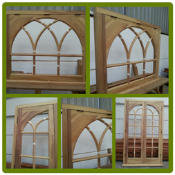 Arched window and Door set (shown unglazed) in Iroko.