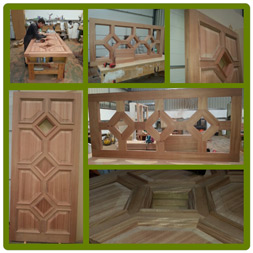 Bespoke Front Door  (shown in progress) in African Mahogany.