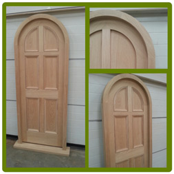 Arched front door and frame in Oak