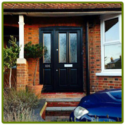 Front Door and frame with sidelight.